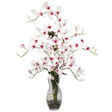 Dendrobium with Vase Silk Floral Arrangements in White
