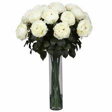 Fancy Rose Silk Flower Arrangement in White