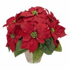 Poinsettia w/Ceramic Vase Silk Floral Arrangement