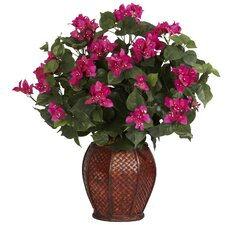 Bougainvillea Silk Desk Top Plant in Decorative Vase