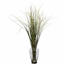 Grass and Bamboo Floor Plant in Decorative Vase