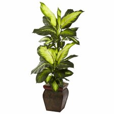 Nearly Natural Golden Dieffenbachia Floor Plant in Planter