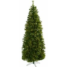 Nearly Natural 7.5' Green Cashmere Slim Artificial Christmas Tree with 400 Clear Lights with Stand