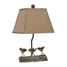 "Little Birds on Log 18"" H Table Lamp with Empire Shade"
