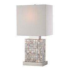 "Mother Of Pearl Mini 17"" H Table Lamp with Square Shade"