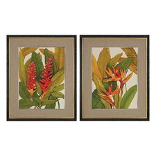 Tropical Bird of Paradise and Tropical Red Ginger Painting Print (Set of 2)