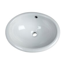"""16.5"""" White China Oval Drop-in Sink With Overflow"""