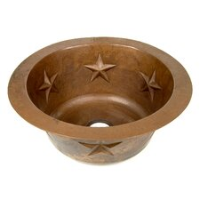 "Copper 16"" x 16"" Round Texas Star Embossed Bar Sink"