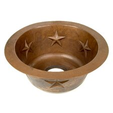 "Copper 16"" x 16"" x 7"" Round Texas Star Embossed Bar Sink"