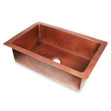 "Copper 33"" x 22"" Hammered Single Bowl Kitchen Sink"