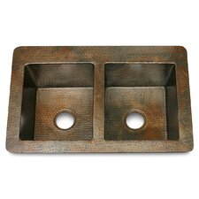 """Copper 36"""" x 22"""" Double Bowl 50/50 Hammered Kitchen Sink"""
