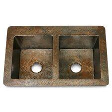 "Copper 36"" x 22"" x 10"" Double Bowl 50/50 Hammered Kitchen Sink"