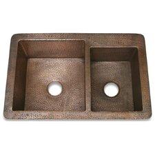 """Copper 33"""" x 22"""" Hammered 60/40 Kitchen Sink"""