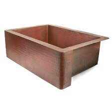 """Copper 33"""" x 22"""" Single Bowl Farmhouse Kitchen Sink"""