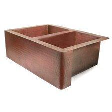 "Copper 36"" x 22"" 50/50 Well Farmhouse Kitchen Sink"
