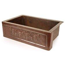 """Copper 30"""" x 22"""" Tuscan Grape Farmhouse Kitchen Sink"""