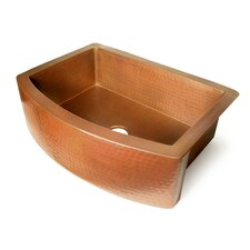 "Copper 36"" x 22"" Single Bowl Curved Front Farmhouse Kitchen Sink"