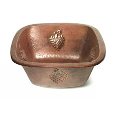 "Copper 15"" x 15"" x 7"" Square Bar Sink with Grape Relief"