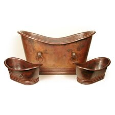 "Isabella Copper 67"" x 31"" Small Slipper Tub with Rings"