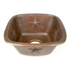 "Copper 15"" x 15"" x 7"" Square Texas Star Embossed Bar Sink"