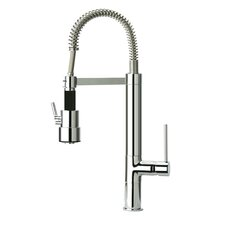 Single Handle Deck Mounted Kitchen Faucet with Spring Swivel Spout Dual Mode Spray