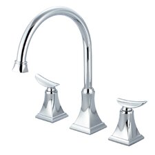 Double Handle Widespread Deck Mounted Kitchen Faucet with Pop-up Drain
