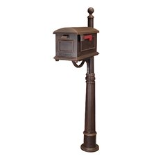 Town Square Pedestal Mounted Mailbox with Rain Overhang