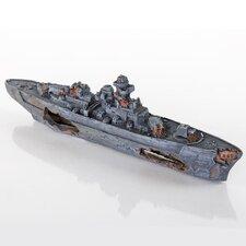 Decorative Sunken Model Battleship Aquarium Sculpture