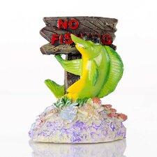 Decorative No Fishing Sign Aquarium Sculpture