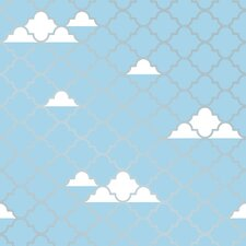 "Tempaper Tots® by P'kolino® Clouds Self-Adhesive, Removable  16.5' x 20.5"" Trellis Flocked Wallpaper"