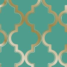 "Tempaper® Marrakesh Self-Adhesive, Removable 33' x 20.5"" Trellis Foiled Wallpaper"