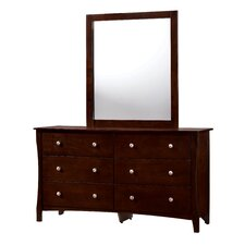 Lattis 6 Drawer Dresser with Mirror