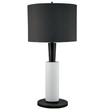 "Modern Wood and Bisque Ceramic 32"" H Table Lamp"