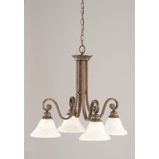 Curl 4 Light  Chandelier with Glass Shade
