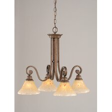 Curl 4 Light  Chandelier with  Crystal Glass Shade