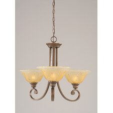 Curl 3 Up Light Chandelier with Crystal Glass Shade