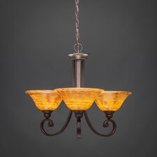Curl 3 Up Light Chandelier with Glass Shade