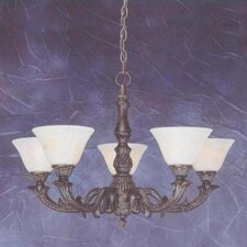 Olde Manor 5 Light  Chandelier with Marble Glass