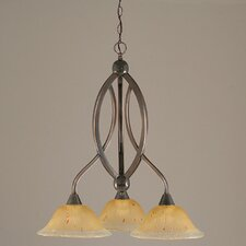 Bow 3 Light  Chandelier with Crystal Glass Shade