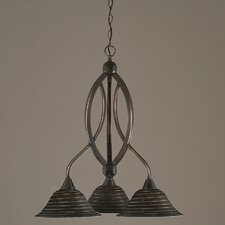 Bow 3 Light  Chandelier with Spiral Glass Shade
