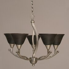 Bow 55 Light Up Chandelier with Spiral Glass Shade