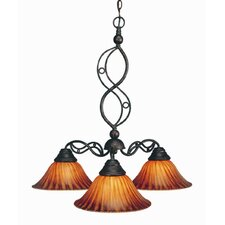 Jazz 3 Light  Chandelier with Tiger Glass Shade