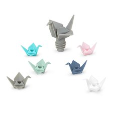 Origami 7-Piece Wine Bottle Stopper and Wine Charm Set