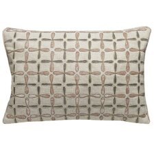 Petal Flower Embellished Linen Lumbar Pillow