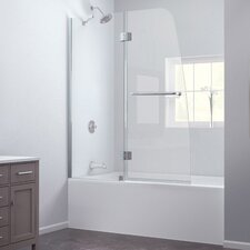 "Aqua 58"" x 48"" Pivot Frameless Hinged Tub Door"