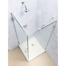 "UnidoorLux 30"" by 30"" Frameless Hinged Shower Enclosure, 3/8"" Glass Shower"