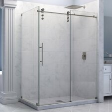 "Enigma-Z 34 1/2"" by 60 3/8"" Fully Frameless Sliding Shower Enclosure, Clear 3/8"" Glass Shower"