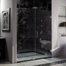 """UniDoor Lux 72"""" x 60"""" Pivot Frameless Hinged Shower Door"""
