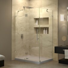 "QuatraLux 32 1/4"" by 46 5/16"" Frameless Hinged Shower Enclosure, 3/8"" Glass Shower"