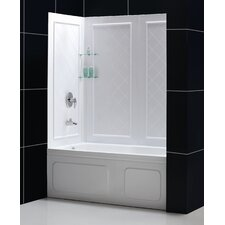 "Duet 56 to 59"" Frameless Bypass Sliding Tub Door and QWALL-Tub Backwall Kit"